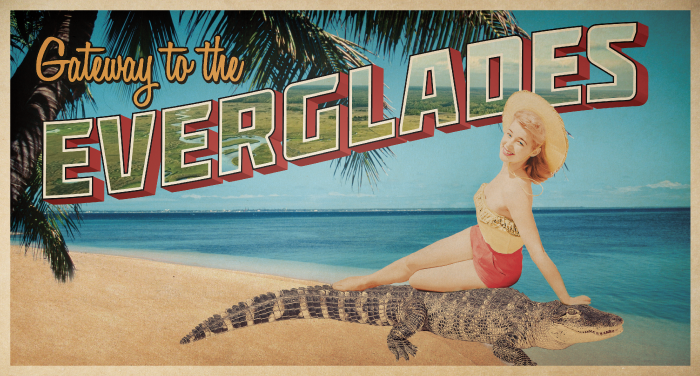 Girl Lounging on Alligator
