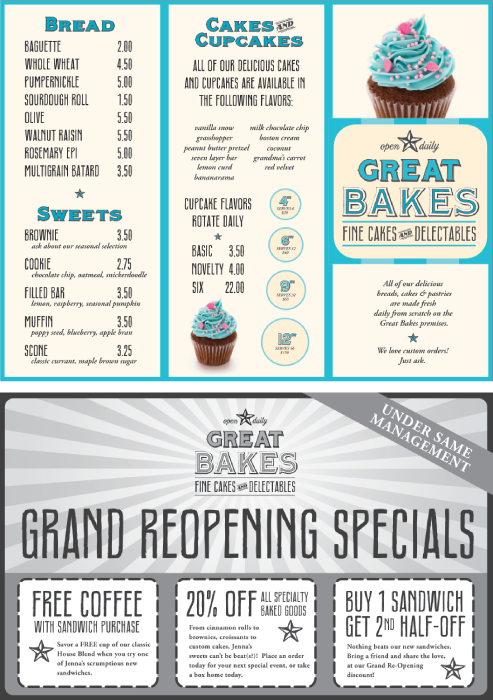 Great Bakes Takeout Menu and Coupon
