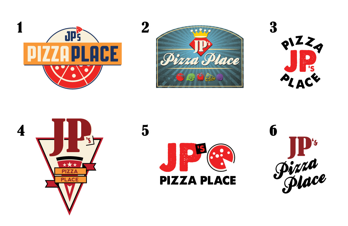 JP's Pizza Logo Options