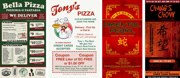 Pizza and Chinese Menus